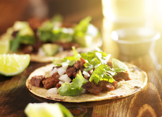 Wild mushroom, flank steak, and Poblano pepper tacos - Recipe